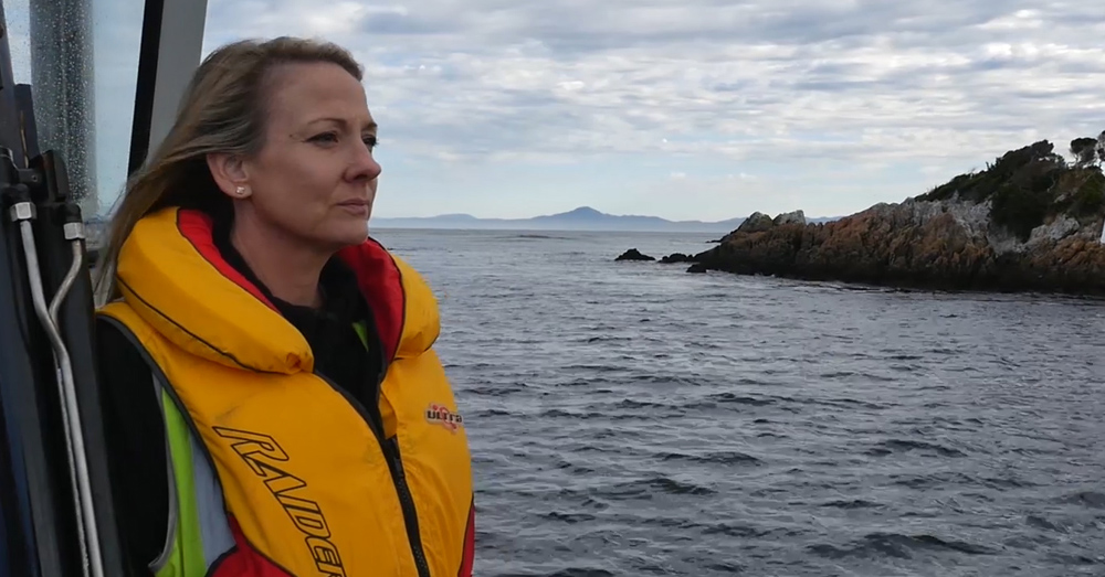 Jo-anne McCrea, WWF-Australia's Fisheries and Seafood Manager, at Macquarie Harbour, Tasmania, January 2017.