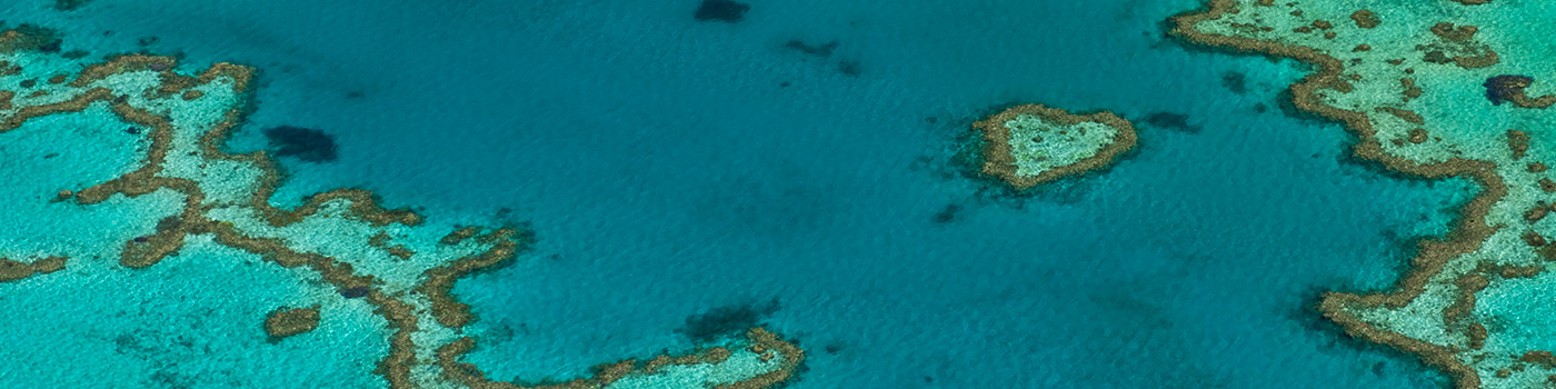 Aerial view of Hardy Reef, home to the Heart Reef, Great Barrier Reef © Jürgen Freund