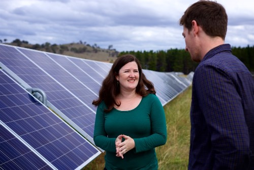 Nicky Ison, WWF-Australia Energy Transition Manager and colleague at a solar farm © Supplied