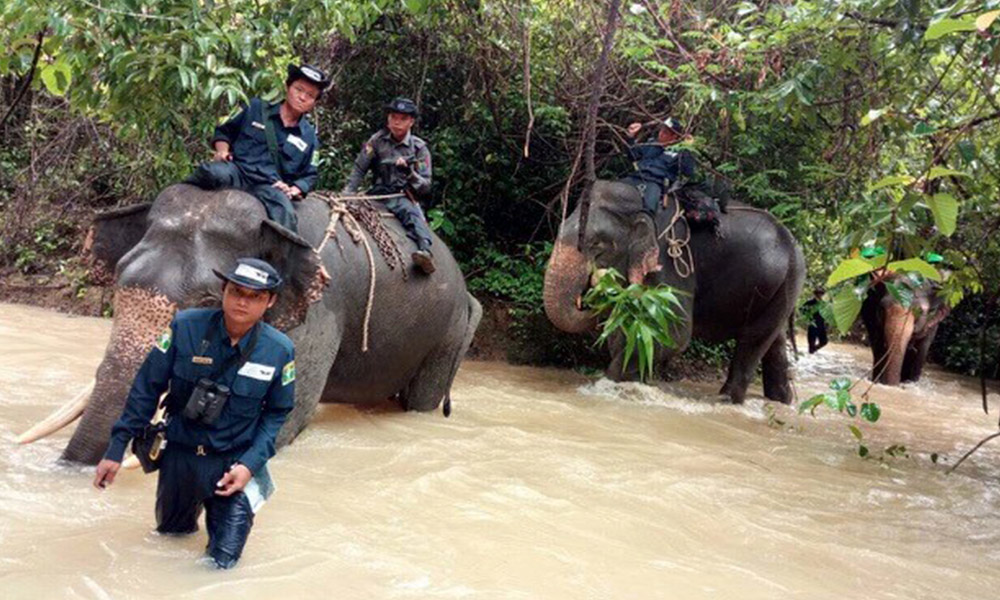 Nga Pu Taw, Myanmar Rangers and Aung Thike Oo crossing a river with in Myanmar. Courtesy of WWF-Myanmar