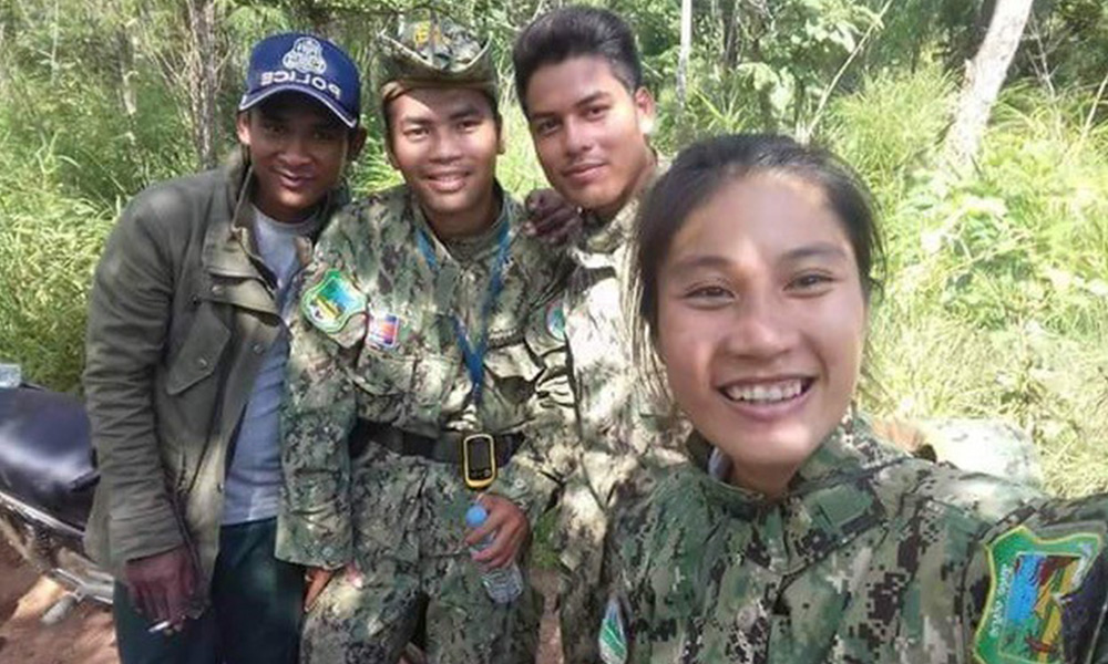 Rida Kheng, Ministry of Environment Ranger in Mondulkiri Province, Cambodia and her brother rangers. Courtesy of WWF-Cambodia