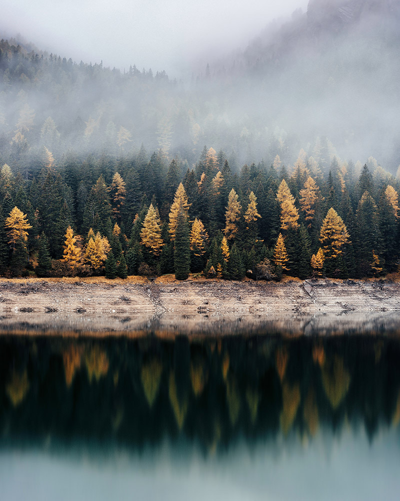 Autumn woods across the lake by Jeremy Vessey / Unsplash