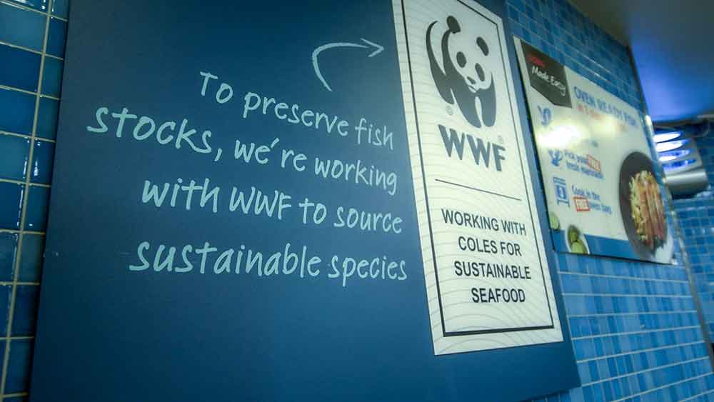 WWF and Coles working together to preserve fish stock sign at a Coles Supermarket © WWF-Aus / Stepping Stone Films