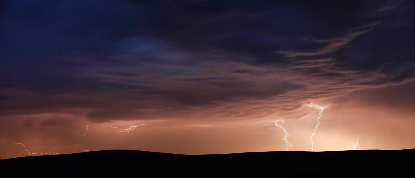 Landscape of lightning at Pine Ridge Indian Reservation near Kyle, South Dakota © Day\