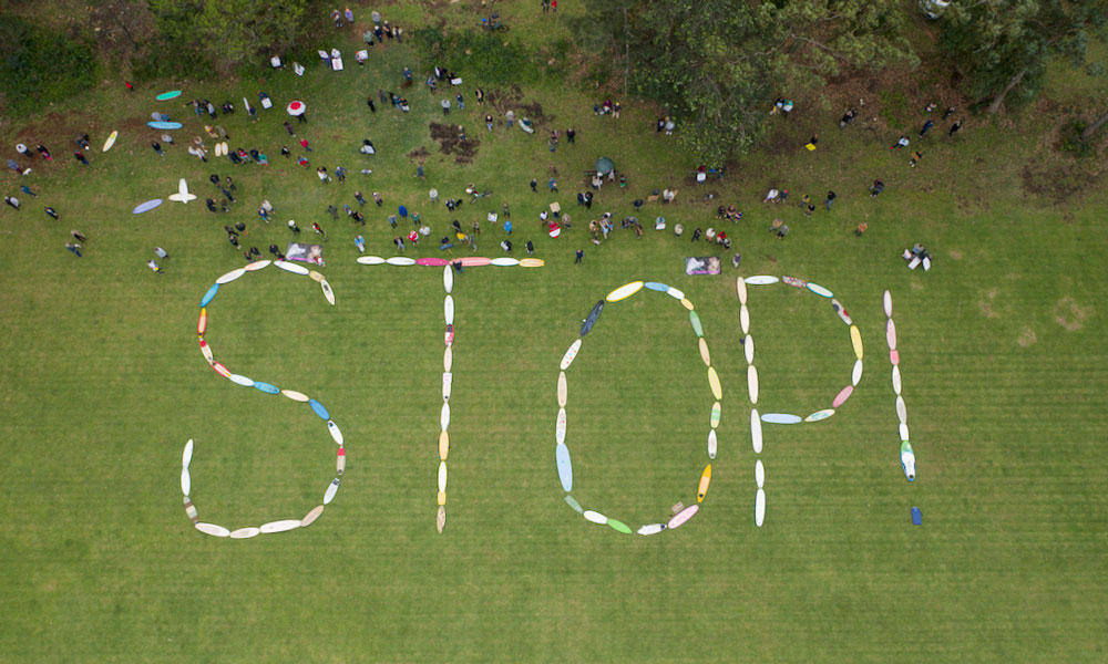 Manyana Matters aerial of STOP sign during protest © Manyana Matters