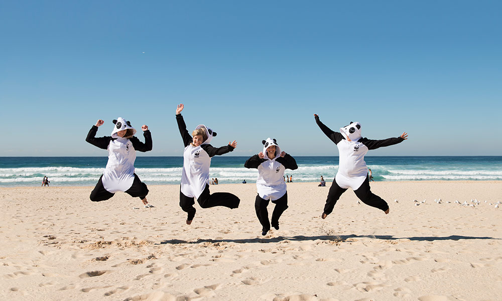 Dressing up for Wild Onesie Week 2014, Bondi Beach © WWF-Aus / Bondi Advertising