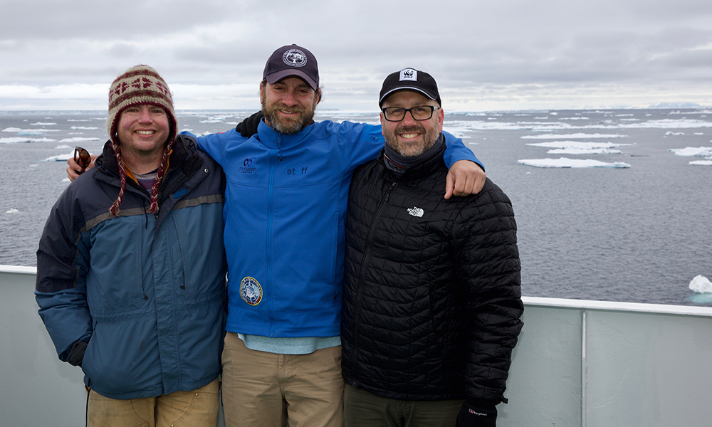 Whale research team: (Left to Right) Dave Cade - PhD student from Stanford University; Dr Ari Friedlaender – Associate Professor, UC Santa Cruz (USA); Chris Johnson – Senior Manager, WWF Antarctic Program © WWF-Aus / Chris Johnson