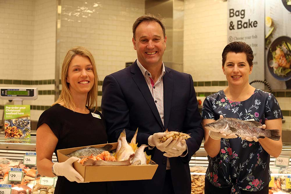 From L-R:  Alex Holt, Woolworths General Manager Quality, Health & Sustainability, Dermot, Serena Anson-Cope, Woolworths Seafood Merchandise Manager. © Woolworths Group