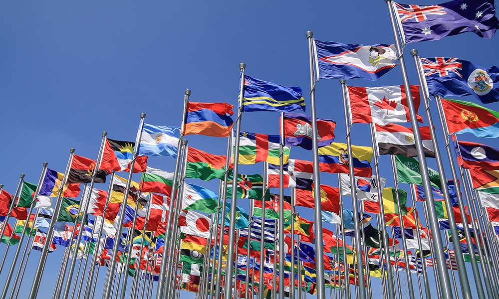 World national flags flying representing nationalities and countries © Shutterstock / ArtisticPhoto / WWF