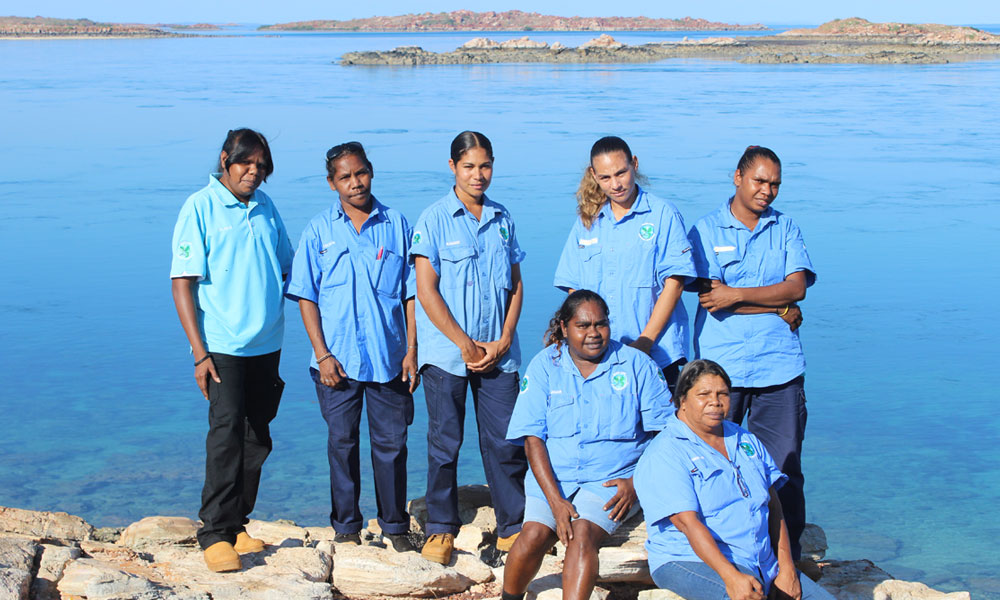 Bardi Jawi Oorany women rangers near a lake in the Kimberley © Kimberley Land Council