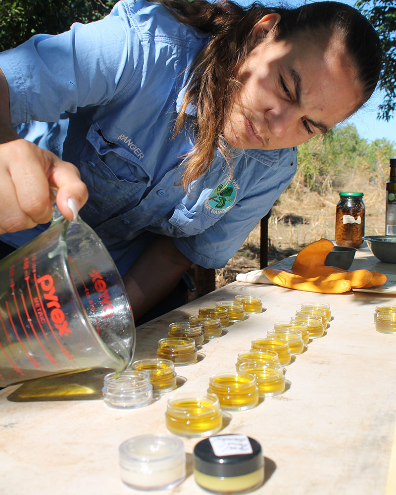 Bardi Jawi Oorany Ranger Jonelle Ketchell learning how to make ointments © Kimberley Land Council