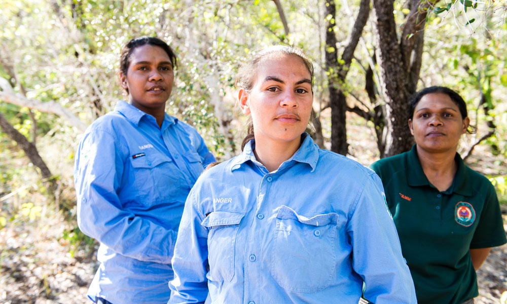 Bardi Jawi Rangers, Henarlia Rex, Jonelle Ketchell and Vanessa Cox © Kimberley Land Council
