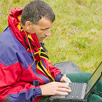 Dr Jeff Warburton of Durham University researching erosion patterns in Cumbria, UK © Global Warming Images / WWF